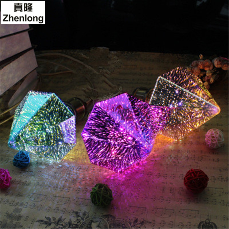 3D Led Fireworks Bulb 3.5W Decoration Holiday Light Silver Plated Glass Lampada SMD 2835 Ac86-265v Colorful lights Diamond Lamp<br>
