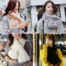 2016 new fashion Rex Rabbit women winter scarf collar wool thickened warm all-match collars for female