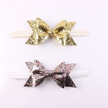 1PC Newborn Flower Bow Glitter Elastic Headband For Girls Pretty Headbands Hairband Hair Accessories Gold Silver(China)