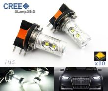 2pcs X H15 CREE LED 50W HeadLight Daytime Running Light DRL Audi A3 A5 A6 Q7 Fiesta MK7(CA209)(China)