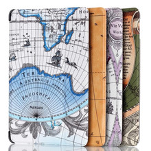 Suppion 4 kind of Map Pattern For Amazon Kindle Fire 7 2017 Folio Pu Leather Case Cover Stand Wholesale
