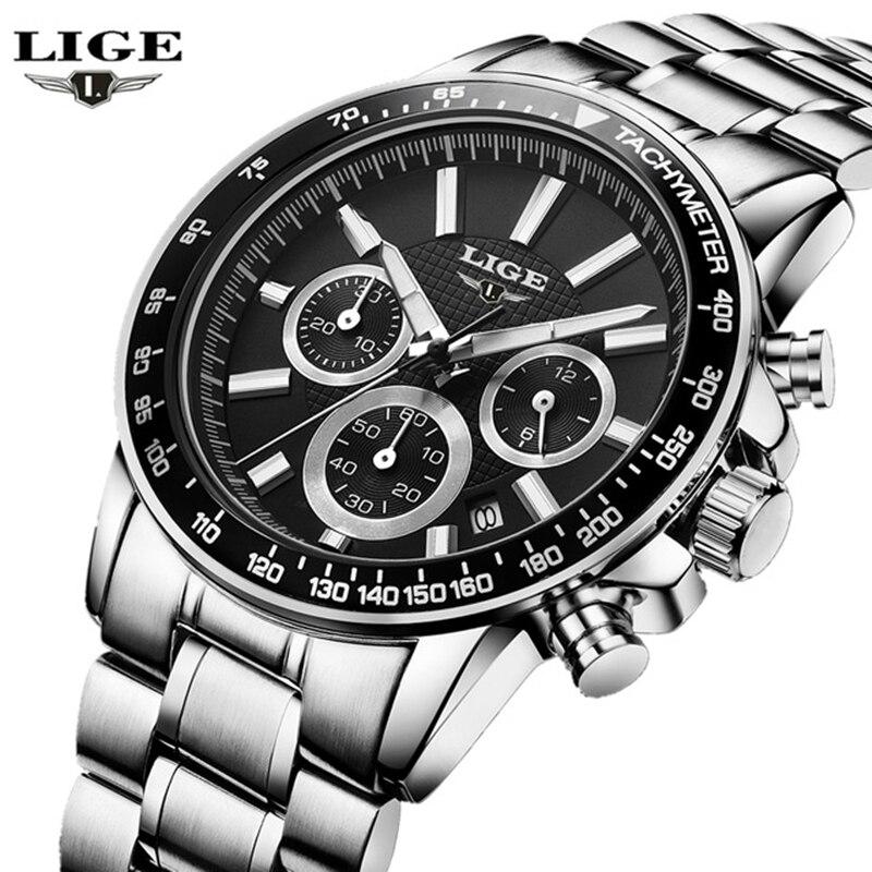 LIGE Brand Luxury mens quartz-watch stainless steel Waterproof watches Men Multi-function Sport Wristwatches Relogio Masculino<br><br>Aliexpress