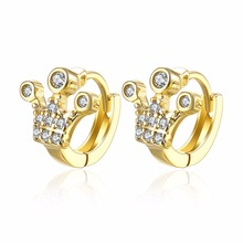 Gold Color Queen Crown CZ Small Round Loop Huggies Hoop Earrings For Kids Baby Girls Children Jewellery Aros