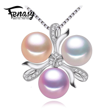 FENASY natural Pearl necklace ,Bohemia 2017 White pink purple pearl jewelry charmnecklace women pearl pendant  jewelry box