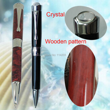 Classic Crystal Pen header Metal Ball Pen Brand style Ballpoint Pen Wooden & Black 2 Colors option for men's day gift Stationery