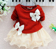 2016 Hot Baby Girls Autumn Spring Long Sleeve Knitted With Bow Infants Newborn Pink Tutu Princess Dress Baby Dress(China)