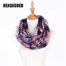 Hot Sale New Fashion High Quality Women cotton voile polyester scarves Small Rose Print Chevron Ring Scarf Winter Shawl Wrap(China)
