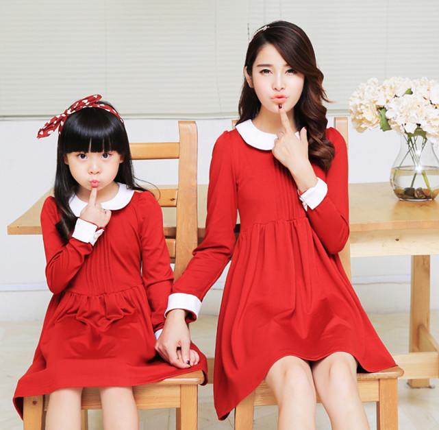 Mother daughter dresses matching mother daughter clothes family look clothing mom and daughter dress cute women robe 2015 autumn<br>