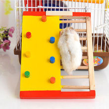 Small Pet Hamster Rabbit Mouse Chinchilla Wooden Ladder Skateboard Toys Cage Accessories