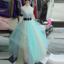 Fashion Rainbow Quinceanera Dresses For Sweet 16 Ball Gowns Beaded Appliques Strapless Long Colorful Prom Formal Gowns 2017
