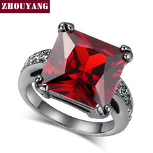ZYR140 Square Red Crystal Black Gold Color Ring Made with Genuine Austrian Crystals Full Sizes Wholesale