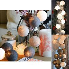 Cotton Ball 20 LEDs AA Battery Powered Globe Led String Lights Outdoor Garland Crawling Lighting For Wedding Garden Decoration(China)