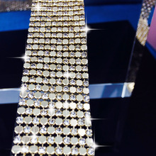 hot fix rhinestone trimming,1pcs/lot,10rows width is about 2.8cm,length 115cm.decoration AAA crystal golden rhinestone banding
