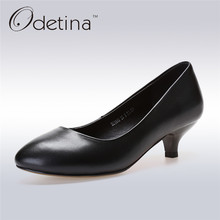 Odetina 2017 High Quality Women Genuine Leather Pumps Female High Heel Pointed Toe Office Ladies Shoes Spike Heels Big Size 42(China)