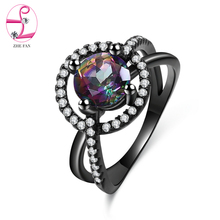ZHE FAN Round Rainbow Synthetic Quartz Ring Crystal Black Plate Vintage Jewelry Rings For Women Christmas Gift Size 5-10(China)