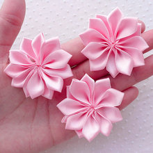 30pcs Pink Satin Ribbon Flower Applique,Fabric Flowers 5cm Pink) Floral Hair Accessories Headbands Hair Bows Brooch Making(China)