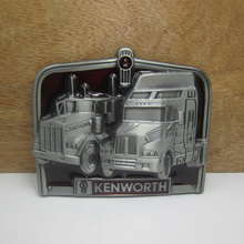 Bullzine Kenworth truck belt buckle with pewter finish FP-03277 suitable for 4cm wideth belt free shipping