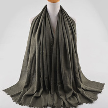 High quality cotton scarves with silver beads,shawls wraps with studs,Plain cotton glittery scarf,head scarf,Muslim hijab,cape(China)
