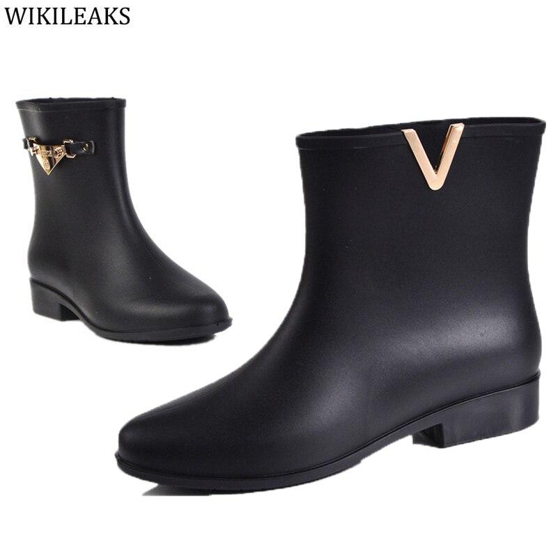 Cute Sister Loves Models Rubber Rain Boots Brand Designer Black Solid Waterproof Trendy Women Ankle Rainboots Shoes Woman 2017<br><br>Aliexpress