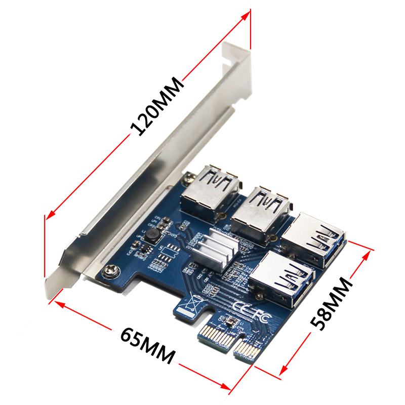 Riser Card PCI-E USB 3.0  PCIe Port Multiplier Card PCI express PCIe 1 to 4 PCI-E to PCI-E for BTC Miner<br>