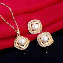 H:HYDE Vintage queen Bride Gold Color Zircon Rhinestones water drop Pendant Necklace Earrings Imitation Pearl jewelry sets Women