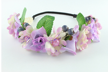 Violet flower exquisite hair accessories headbands bohemian beach sand flower hair band bridal wreath wedding hair accessories(China)