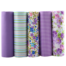 100% Tissus Cotton Fabric Telas Patchwork Fabric Fat Quarter Bundles Fabric For Sewing DIY Crafts Purple Color 40*50cm 5pcs/lot(Hong Kong)