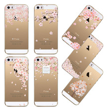 Back Case Cover for Apple iphone 4 4s 5 5s SE 5C 6 6s 6 plus fundas Love Tree Sweet  Blossom Clear TPU Soft  Sillicon Phone case