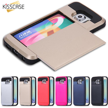 KISSCASE Bag For Samsung S6 edge Plus S7 Edge Note 4 5 Slim Hybrid Card Slide Cover Capa Case For iPhone 5 5S 5C SE 6 6S 6s Plus(China)