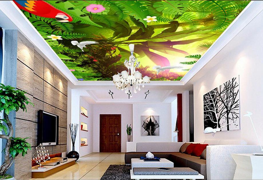 Modern Ceiling Wallpaper Fashion Sunshine flower bird Custom 3D Stereoscopic Mural Wallpaper Ceiling Stickers Wallpaper<br>