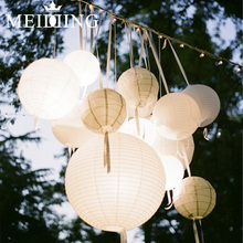 MEIDDING-50set 20/30cm Round Chinese Lantern Paper Lanterns for Wedding/anniverasry Party Decoration wholesale(China)