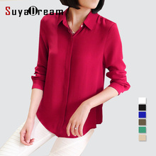 Women 100% real silk Blouse long sleeve Solid chiffon shirt Blusas femininas Office lady style Simple button shirt  2016 3XL