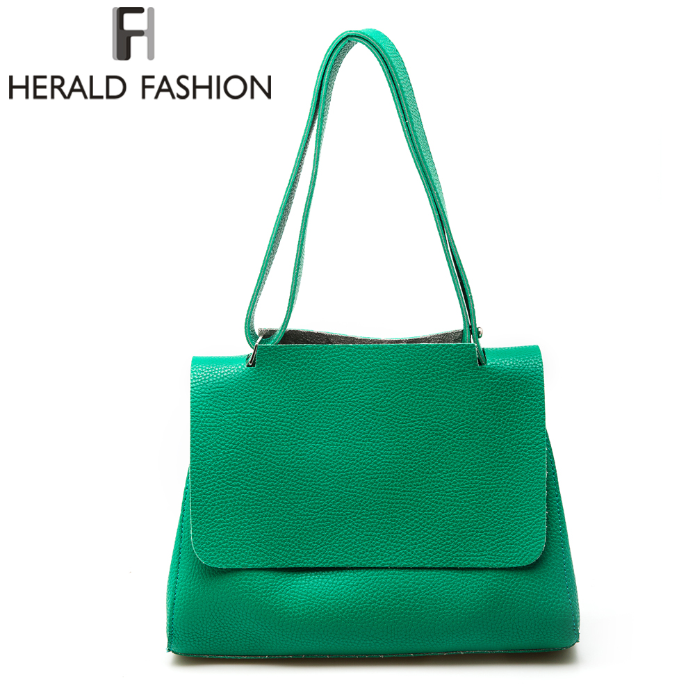 Herald Fashion New Arrival Women Bucket Bag PU Leather Solid Color Women Shoulder Bags Autumn Winter Style Big Bag 6 Colors<br><br>Aliexpress