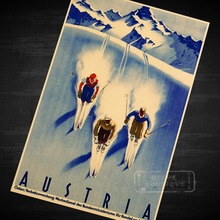 Skiing in Austria Ski Vintage Retro Kraft Travel Poster Decorative DIY Wall Sticker Home Bar Art Posters Decoration Kids Gift