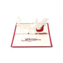2017 New Christmas Greeting 3D Cards Santa Sleigh Deer with Envelope for All Occasion MAR23_30