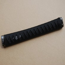 New Straight Katana Tsuka Black Silk Ito & Imitated Black Rayskin & Alloy Fuchi Kashira for Japanese Sword Katana Handle H3