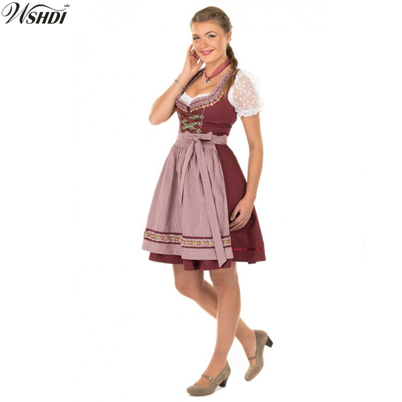 Traditional Women German Oktoberfest Costume Bavarian Octoberfest Beer Maid Wench Dirndl Fancy Dress Halloween Party Outdit