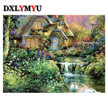 diamond painting Outdoor Villa needlework cross stitch Breath of spring square diamond Mosaic embroidery Swan Creek Flowers