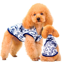 2016 New Fashion Summer Dress Blue And White China Patterns Cat Dog Puppy Dress For Pets Oriental Exotic Chic Skirt Dog Clothes