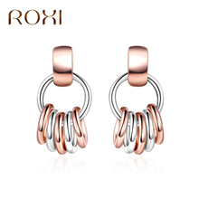 Buy ROXI Fashion Aros Rose Gold Silver Color Multi Circle Earrings Women Jewelry Stud Earrings Geometric Brinco de gota feminino for $1.97 in AliExpress store