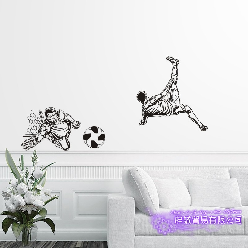 DCTAL Football Player Sticker Football Game Soccer Decal Helmets Kids Room Posters Vinyl Wall Decals F1