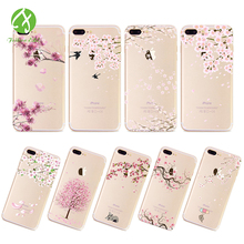 Peach Blossom Painting Series Phone Case For Iphone 7 7plus 6 6s 6plus Transparent Soft TPU Cover case