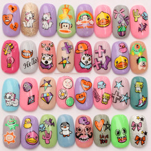 Harajuku Cartoon Decal Sticker Monster Pato Amarillo Mono Nail Art Stickers DLS139-150