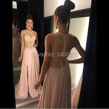 12288W Special Occasion A-Line Sleeveless Chiffon Long Slit Beaded Fashion Evening Dresses 2017