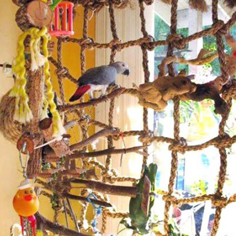 1pc Durable Parrot Birds Climbing Net Parakeet Swing Play Rope Ladder Chew Toy 38x38cm