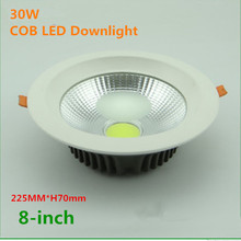 "DHL 40PCS Free shiping 30w LED COB Downlight 8"" AC85~265V,AL+PMMA,White 225*H70mm(China)"