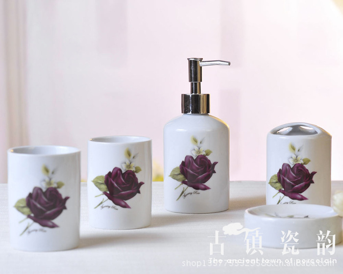 Purple Rose 5 Pcs Ceramic Bathroom Set Accessories For Toothpaste Dispenser Toothbrush Holder In Sets From Home