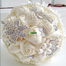 Crystal Rhinestone Artificial Rose Bridal Bouquet Flower Ideas Wedding Church Dancing Beach Decor Cream F5131