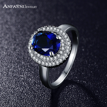 ANFASNI Latest Style Trendy Ring Silver Color Micro Pave Clear AAA Cubic Zirconia Round Blue Ring For Women Gift CRI0126-B