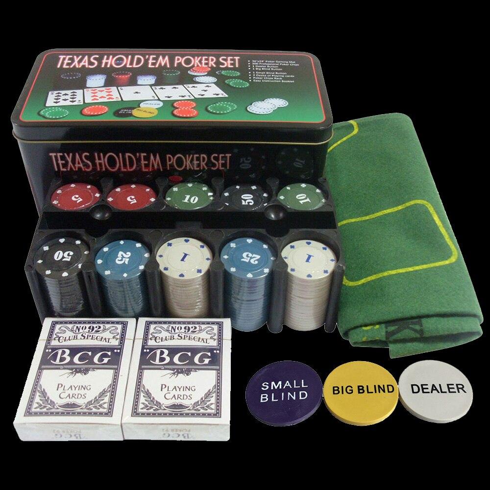 Bargaining 200pcs Poker Chips Set &amp; Blackjack Poker Table Layout &amp; Dealer &amp; 2 Blinds &amp; 2 Playing Cards<br>